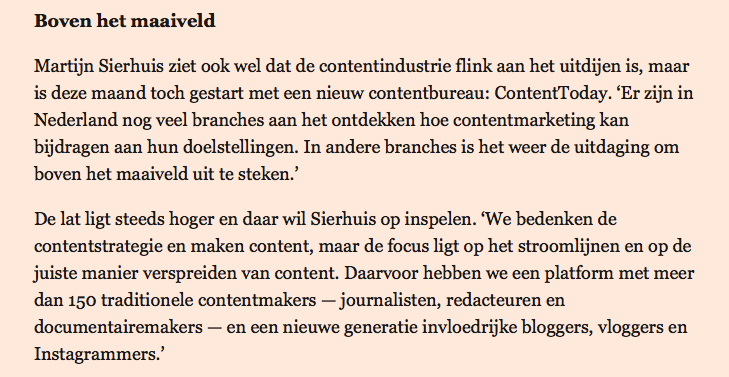 Artikel Financieele dagblad d.d. 19-01-2016